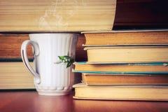 Kopp te med bunten av gamla böcker royaltyfri foto