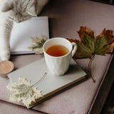 Kopp te med en bok i inre med höstbladet, noteboo arkivfoton