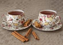 Kopp te med kakor och kanel royaltyfri bild