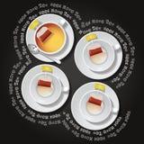 4 kopp te med tepåsen Royaltyfri Illustrationer