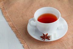 Kopp te med teskeden Royaltyfria Bilder