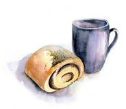 Kopp te och bulle, vattenfärg, realism Royaltyfri Fotografi