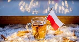 Kopp te och flagga av Polen på backgroun för snö och för felika ljus Royaltyfri Foto