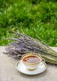Kopp te och lavendel på tabellen Te med lavendel i trädgården Sommarte Kopp te på grön naturlig bakgrund Royaltyfri Fotografi