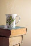 Kopp te på bunten av gamla böcker arkivfoton