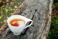 Kopp te på träbakgrund i solig morgon med kopieringsutrymme fotografering för bildbyråer