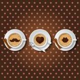 3 koppar av cappuccino med förälskelsesymbol Vektor Illustrationer