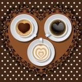 3 koppar av hjärta i kaffe Fotografering för Bildbyråer