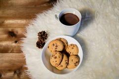 Koppar av varm choklad med kakor på pälsfilten Fotografering för Bildbyråer