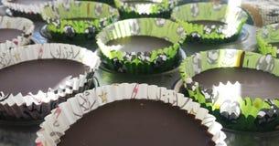 Koppar för chokladjordnötsmör Arkivfoto