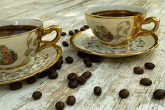 Koppar för svart kaffe 1 Arkivfoto