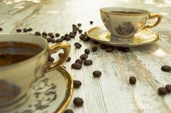 Koppar för svart kaffe 2 Arkivfoton