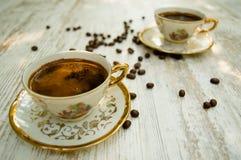 Koppar för svart kaffe 4 Arkivfoton