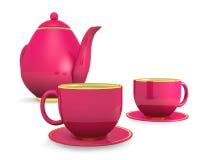 Koppar med teapoten Arkivfoton