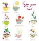 Koppar med teservisen - bär, citron, mintkaramell, vanilj stock illustrationer