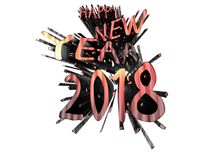 Kopparexplosion för lyckligt nytt år 2018 Vektor Illustrationer