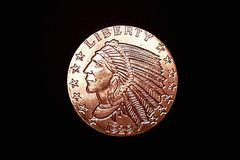 Kopparindiskt mynt Arkivfoton