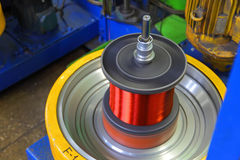 Kopparkabelfabrik inte seamless bakgrundsmaskin Arkivfoto