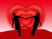 Koppel hand in hand status royalty-vrije illustratie