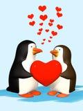 Koppel het glimlachen in liefde 3D pinguïnen Royalty-vrije Stock Foto
