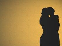 Koppel het Silhouet van de Slaapkamer Stock Afbeeldingen