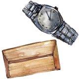 Koppeling en van de horlogeschets glamourillustratie in een waterverfstijl geïsoleerd element Watercolour achtergrondreeks royalty-vrije illustratie