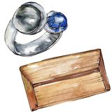 Koppeling en van de ringsschets glamourillustratie in een waterverfstijl geïsoleerd element Watercolour achtergrondreeks stock illustratie