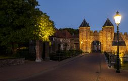 Koppelpoort Amersfoort with Lamp Posts royalty free stock photography