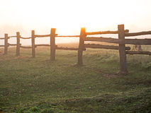 Koppelzaun bei Sonnenaufgang Stockfotografie