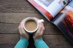 Koppen av varmt kaffe Arkivbild