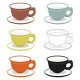 Koppen en schotels van verschillende cly types Stock Afbeeldingen