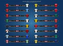 Koppen 2018 för den fotbollvärldsmästerskapet, uppsättningen och funktionskortet för grupp för likformig för landslagfotbollärmlö stock illustrationer