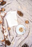 Koppen kaffe med hjärtaformer, sidor av dagboken för att skriva nya plan eller shoppinggåvor, filial av bomull, sörjer på kottar  arkivbilder