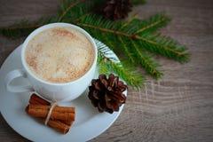 Koppen kaffe med kanelbrunt och brunt sörjer kottar Arkivbild
