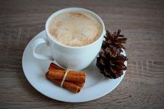Koppen kaffe med kanelbrunt och brunt sörjer kottar Arkivfoto