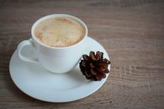 Koppen kaffe med kanelbrunt och brunt sörjer kottar Fotografering för Bildbyråer