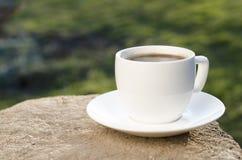 Koppen kaffe på ett trä och en backgroud är från grön färg Fotografering för Bildbyråer