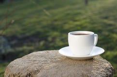 Koppen kaffe på ett trä och en backgroud är från grön färg arkivfoton