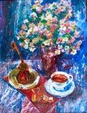 Koppen kaffe, turken, choklader och blommor Royaltyfria Foton