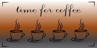 Koppen met hete koffie Tijd voor Koffie Concept Royalty-vrije Stock Foto's