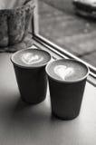 Koppen met koffie Royalty-vrije Stock Foto's