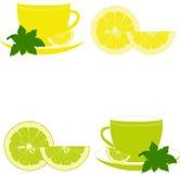 Koppen met munt, citroen en kalk Stock Fotografie