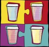 Koppen in Pop-artstijl Koffie het drinken koppen Vector illustratie Partij Hete dranken Stock Foto's