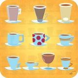 10 koppen van koffie Royalty-vrije Stock Afbeelding