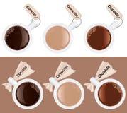 Koppen van koffie met etiketten Royalty-vrije Stock Foto's