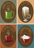 Koppen van koffiecappuchino, latte, espresso, americano Royalty-vrije Stock Afbeelding