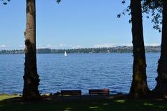 koppla av för lake royaltyfria foton