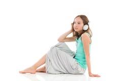 koppla av för musik Fotografering för Bildbyråer