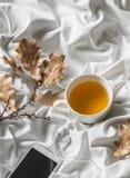 Koppla av hemtrevlig tid - kopp av grönt te, hörlurar för musikspelare i säng Top beskådar Arkivbilder