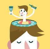 Koppla av i simbassäng, under ditt huvud Arkivbild